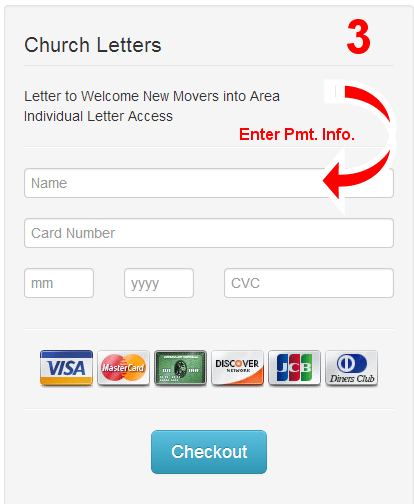 Enter Payment Information for Individual Church Letters