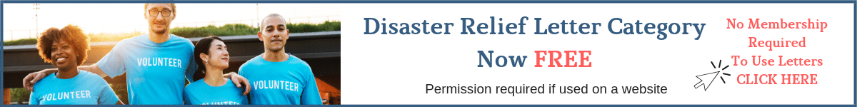 Disaster Relief Letters Category is FREE