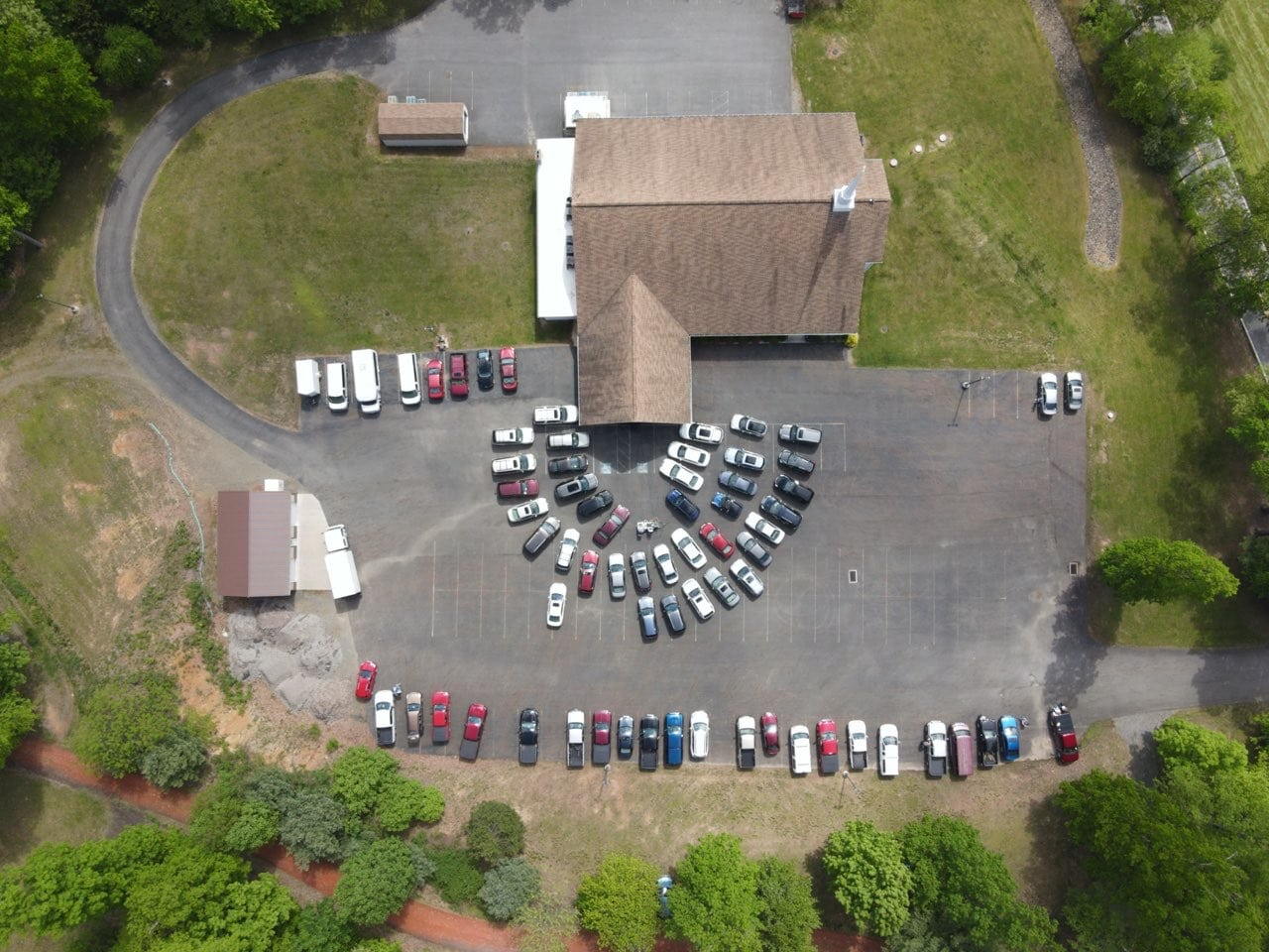 Drone Shot of Drive In Church Service