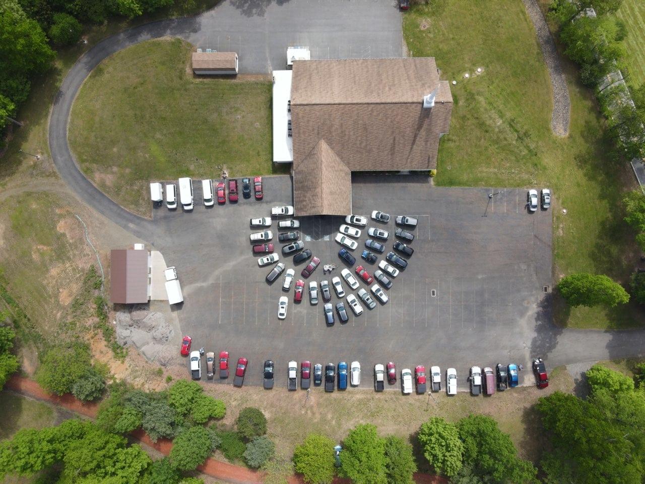 Drone Shot of Drive In Church Service